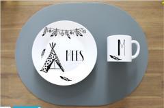 Ontbijt bord en beker - ALetters - PAKKETPOST!