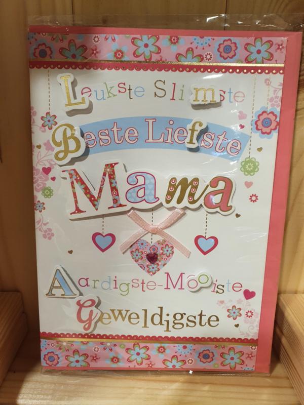 Luxe wenskaart  Mama - met gekleurde envelop