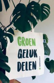 "Fairtrade bio katoenen tote bag ""Groen Geluk Delen"""