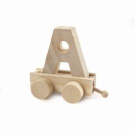 Nieuw : Houten letter trein Ass. letters op=op