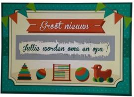 "Nieuw : Kraskaart / wenskaart MiniMou ""Jullie worden oma & opa!"""