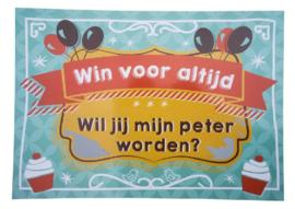 """Nieuw : Kraskaart / wenskaart MiniMou """" Wil jij mijn peter worden?"""""""
