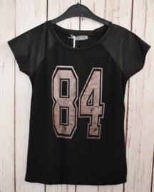 Nieuw : Geisha - Zwart T-shirt Lederlook detail Mt. 140