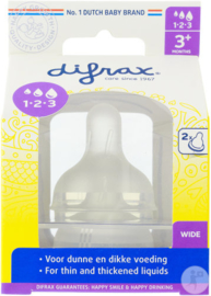Nieuw : Difrax 1-2-3 Flesspeen wide  - 2 stuks