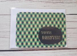 """Nieuw : Postkaart - Kaartjesfee """"Tofste meester"""""""