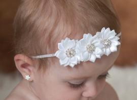 Nieuw : Haarband 3 flowers - Ass. kleur