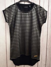 Nieuw : Crush Denim - Zwart zilver gestreepte T-shirt