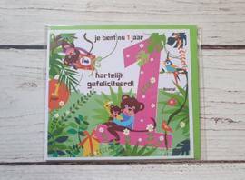 """Nieuw : Postkaart - """"Je bent nu 1 jaar"""""""