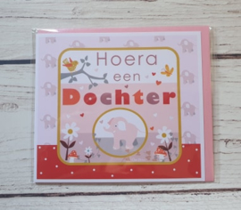 """Nieuw : Postkaart - """"Hoera een dochter"""""""