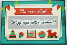 """Nieuw : Kraskaart / wenskaart MiniMou """"Wil jij mijn meter worden?"""""""