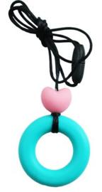 Nieuw : Bijt - borstvoeding ketting rond hart mint pink