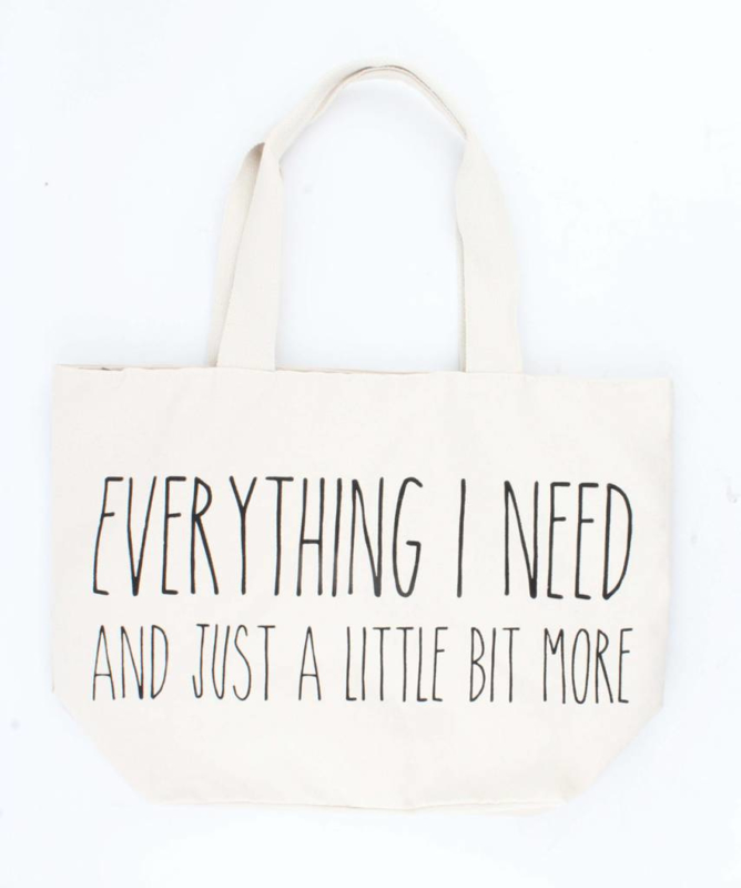 """Nieuw : Grote shopper """"Everything I need"""""""