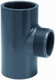 """PVC T-stuk 32 x 1¼"""" buitendraad x 32mm PN10"""