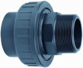 "PVC 3/3 koppeling 1½"" lijm x 1½"" buitendraad"