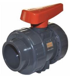 Industrie PVC kogelkraan ind. 20mm 2x wartel PN16