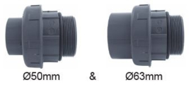 "PVC 3/3 koppeling 50/63 x 2"" buitendraad (2st)"