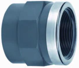 """PVC schroefbus RVS-ring 20 x ½"""" binnendraad PN16"""