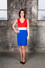 Rood wit blauw jurkje (V-HALS)