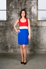 Rood wit blauw jurkje (RONDE-HALS)