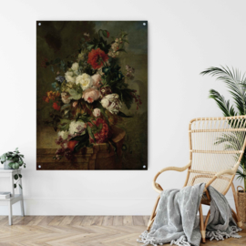Stilleven met bloemen op geborsteld staal, 140x110cm met ophangsysteem