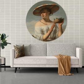Rond schilderij van het Meisje met een brede hoed