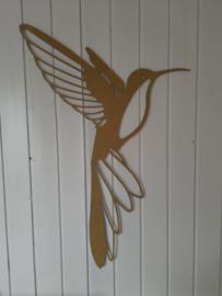 Geometrische kolibrie goud 70x50cm