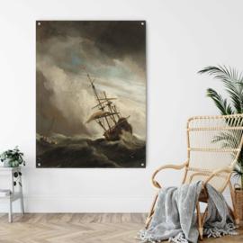 Een schip in volle zee bij vliegende storm, bekend als 'De windstoot', Willem van de Velde