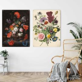 Dubbelzijdige kunst: Stilleven met bloemen met het boeket uit 1680, 100x73cm met ophangsysteem