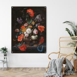 Stilleven met bloemen en horloge van Abraham Mignon