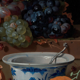 Stilleven met vruchten, oesters en een porseleinen kom, Abraham Mignon