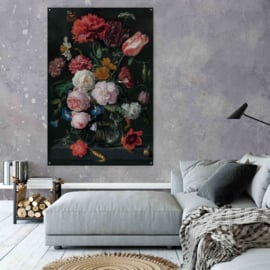 Jan Davidzs de Heem - Stilleven met bloemen op acrylglas, 200x135cm met ophangsysteem