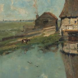 Dubbelzijdige kunst: Een molen aan een poldervaart met het Stilleven met bloemen van Eelke Jelles Eelkema