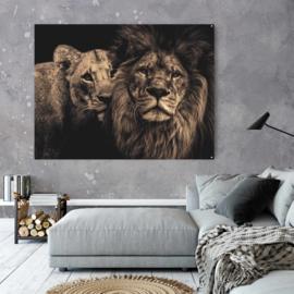 Lion couple - Sepia editie gespiegeld