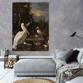 Een pelikaan en ander gevogelte bij een waterbassin van Melchior d'Hondecoeter