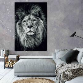 Alpha lion op geborsteld staal 110x73cm zonder ophangsysteem