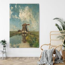 Een molen aan een poldervaart door Paul Joseph Constantin Gabriël