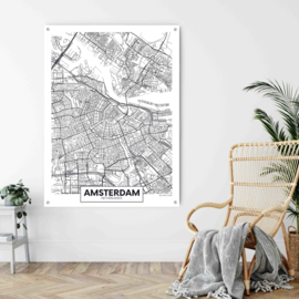 Amsterdam city map op aluminium