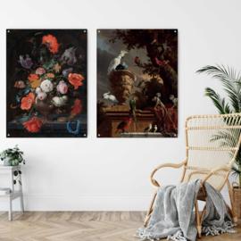 Dubbelzijdige kunst: De menagerie, Melchior d'Hondecoeter met Stilleven met bloemen