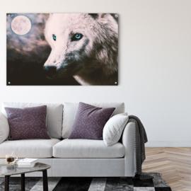 Dubbelzijdige kunst: Wolf bij volle maan in combinatie met de stoere Burning lion