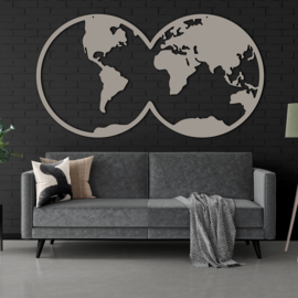 Wereldkaart grijs (stone grey)