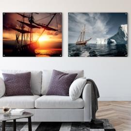 Dubbelzijdige kunst: Zeilschip met prachtige wolkenlucht met Schip tussen ijsbergen