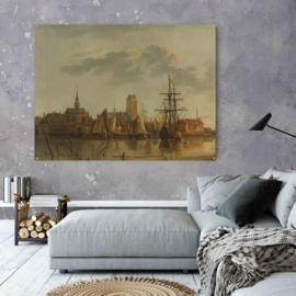 Gezicht op Dordrecht bij zonsondergang door Aelbert Cuyp