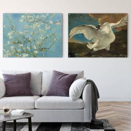 Dubbelzijdige kunst: De bedreigde zwaan met Amandelbloesem van Vincent van Gogh