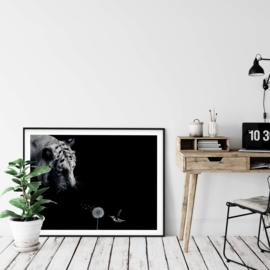 Tijger poster in zwart wit