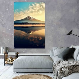 Volcano over water