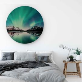 Rond schilderij noorderlicht