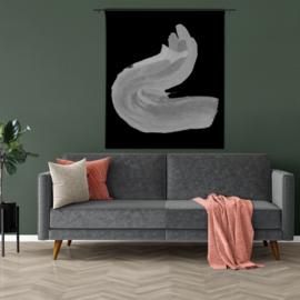 Wandkleed abstract zwart wit