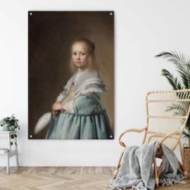 Portret van een meisje in het blauw door Johannes Cornelisz. Verspronck