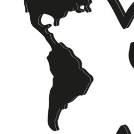 Wereldkaart zwart