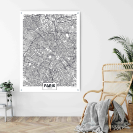 Parijs city map op aluminium